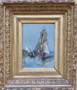 Jules Achille NOËL - Peinture - barque et bateau animés