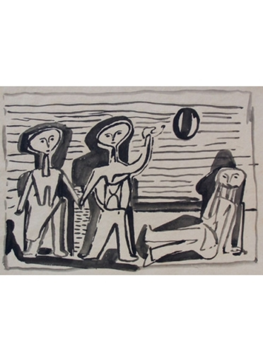 Jankel ADLER - Dibujo Acuarela - Bathers Playing with a Ball at the Beach
