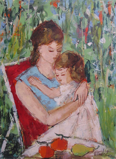Bertoldo TAUBERT - Painting - Jeune Fille et Fillette