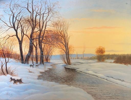 Jaime MORERA Y GALICIA - Gemälde - The Landscape River in snow