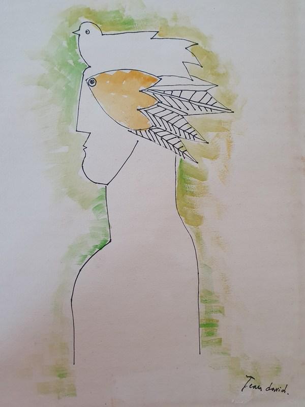 Jean DAVID - Disegno Acquarello - Figure and Bird