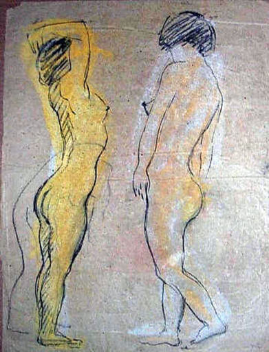 Robert Rafaelovich FALK - Drawing-Watercolor - Nude study in motion