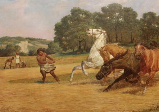 Lemmo ROSSI SCOTTI - Gemälde - La battitura del fieno nell'età dell'oro