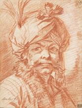 François BOUCHER (1703-1770) - Étude de tête d'homme coiffé d'un turban turc