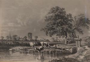 Alfred BÖHM - Disegno Acquarello - Kühe in Landschaft
