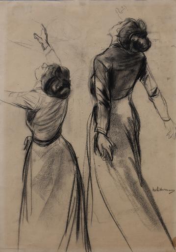 马克斯•利伯曼 - 水彩作品 - Double Study of a Woman's Back with outstretched Arms|