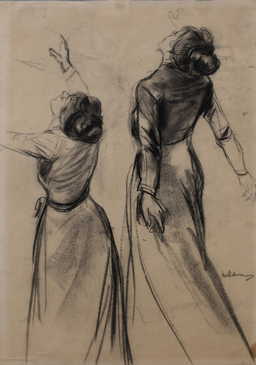 Max LIEBERMANN - Dibujo Acuarela - Double Study of a Woman's Back with outstretched Arms|