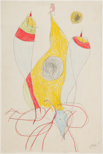 Joan MIRO - Drawing-Watercolor - Femme
