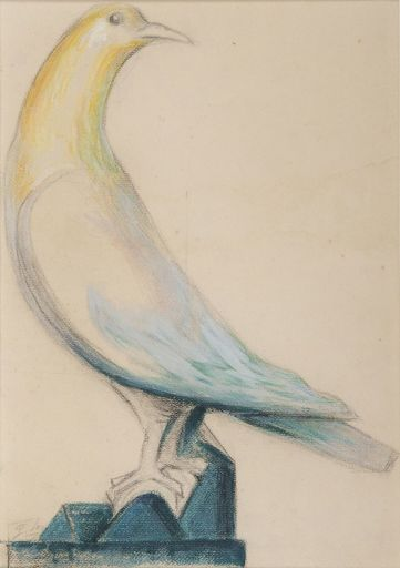 Gustave MIKLOS - Zeichnung Aquarell - Pigeon