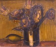 Franz PRIKING (1929-1979) - Bouquet de fleurs et citron