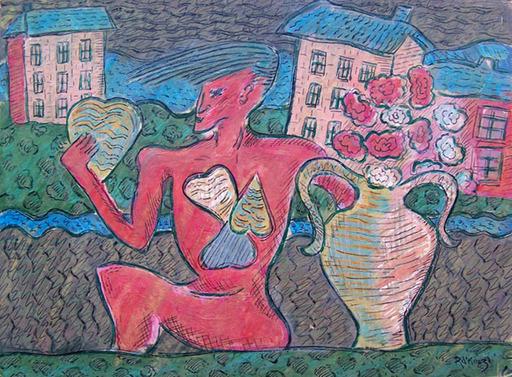 Basil Ivan RAKOCZI - Peinture - Red Figure Holding a Heart
