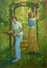 Carlos ESTEBAN - Painting - Au jardin N°2 (Cat N° 3459)
