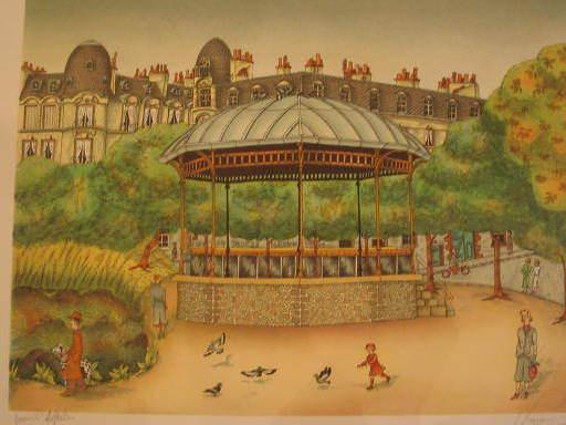 Bernard VERCRUYCE - Estampe-Multiple - Paris:Café du square,kiosque,1986.