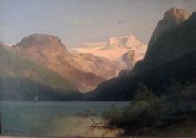 "Hermann Ottomar HERZOG - Pintura - ""Sunset Effect on the Watzmann"""