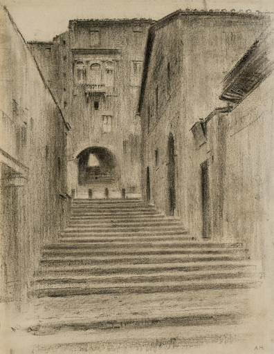 Adolf HIREMY-HIRSCHL - Drawing-Watercolor - Der Palazzo Borghese in Rom