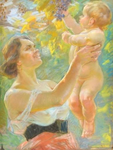 Gino PICCIONI - Drawing-Watercolor - Maternità